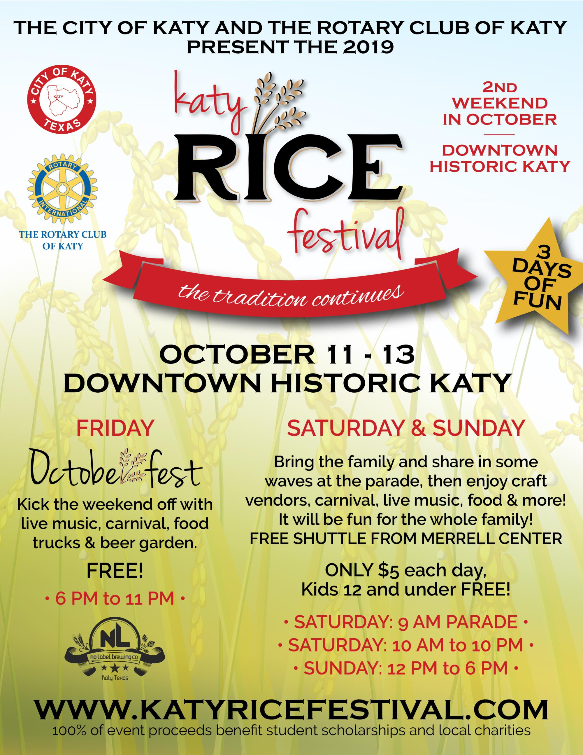 2019 Katy Rice Festival Flyer