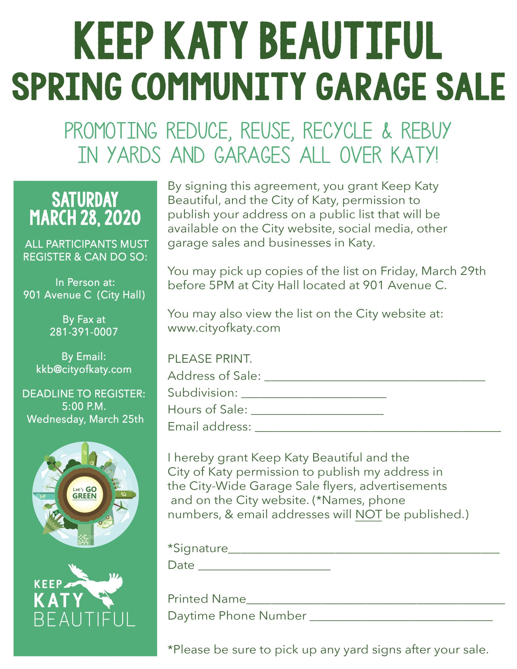 2020 Spring Community Garage Sale
